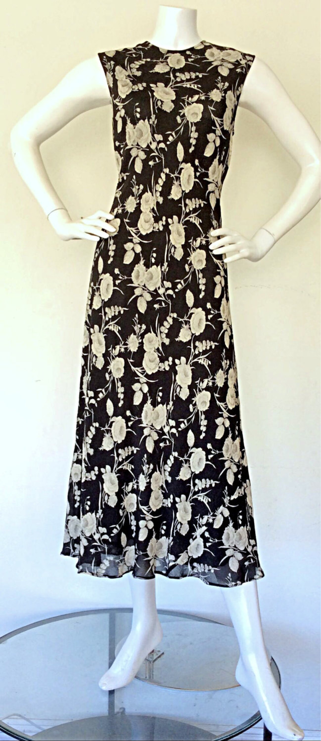 I'm back!  1990s Calvin Klein Collection Silk Black and Ivory Floral Dress via Etsy