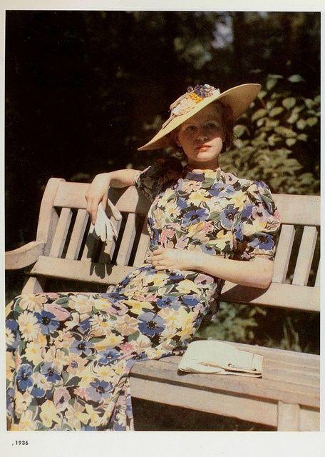 Bias-cut floral silk dress, 1936