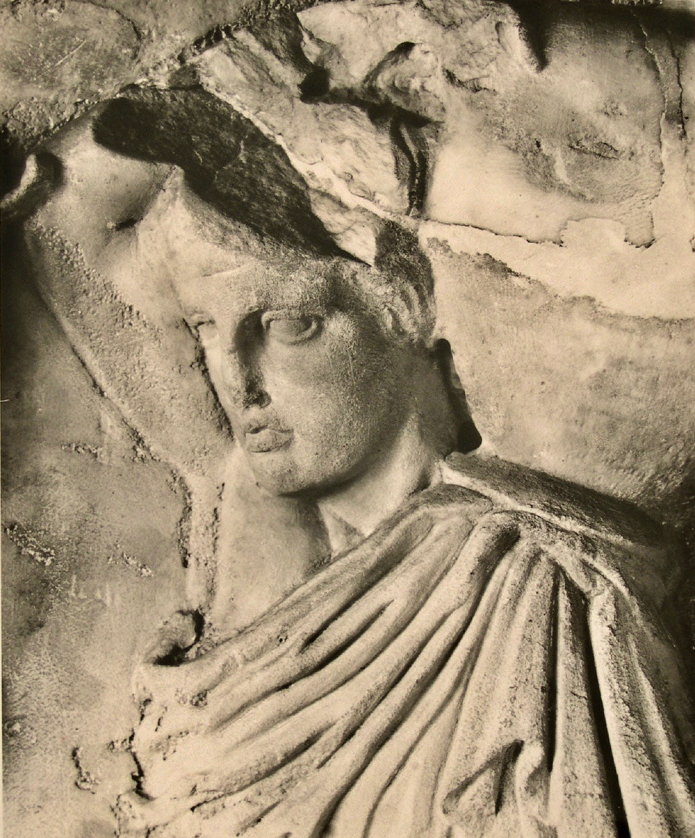 Walter Hedge, A Pitcher Bearer (detail) from the Parthenon's north frieze, circa 1930. The Acropolis Museum.