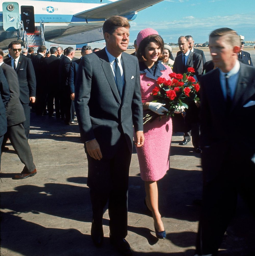 The pink and navy suit, worn on the day of JFK's assassination. Image: Getty.