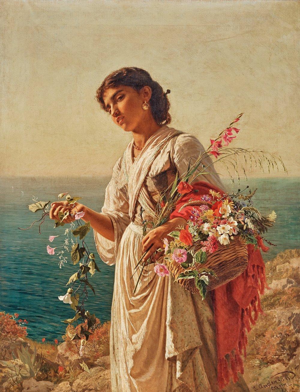 The Flower Girl, Capri | Sophie Anderson