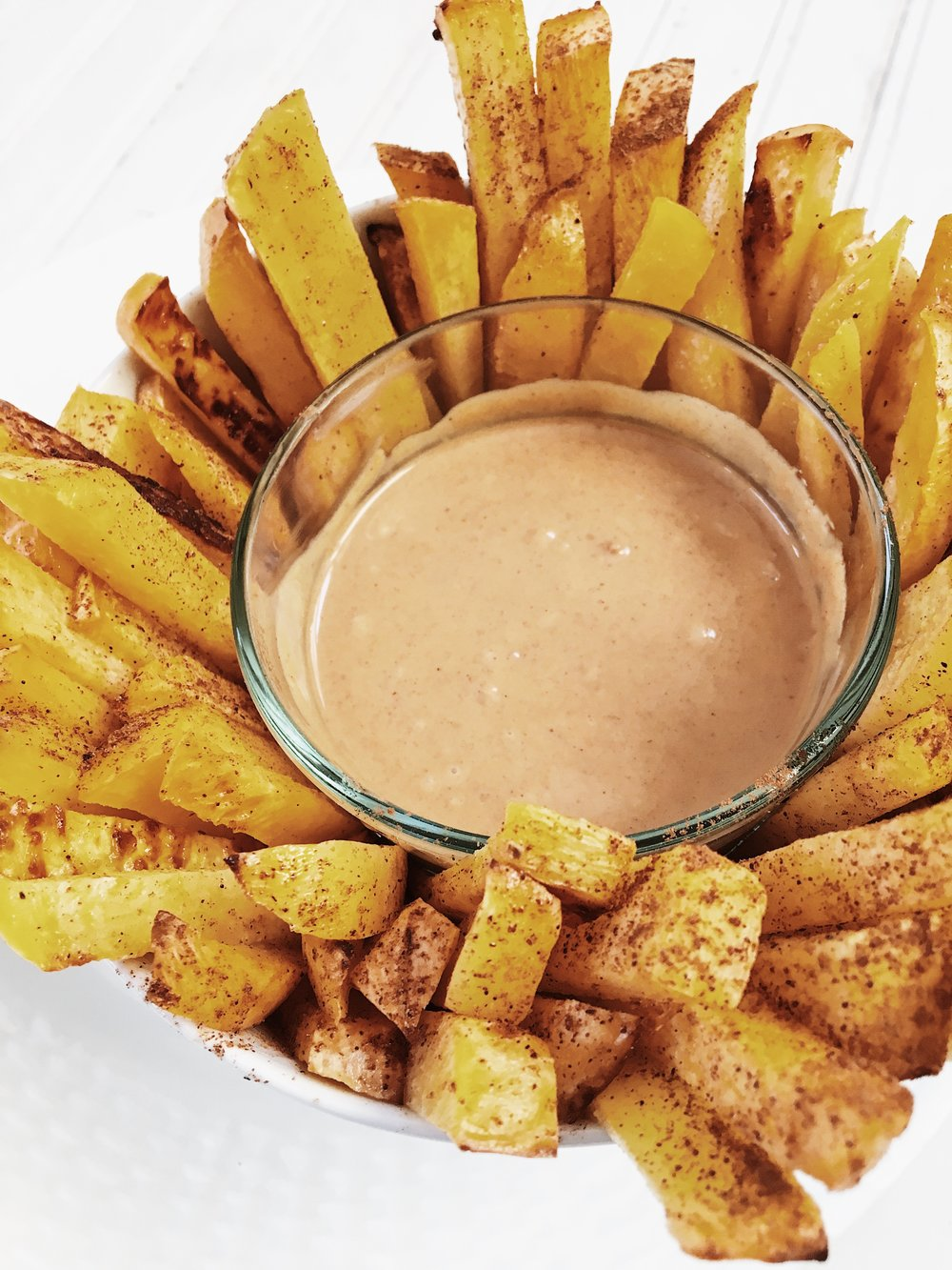 sweet-and-salty-roasted-rutabaga-fries-with-nut-butter-dipping-sauce