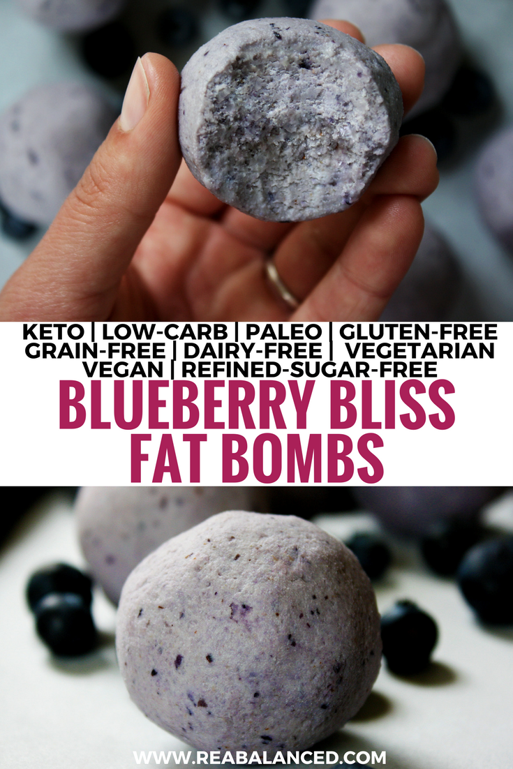 Blueberry Bliss Fat Bombs: keto, low-carb, paleo, gluten-free, grain-free, dairy-free, vegetarian, vegan, & refined-sugar-free!