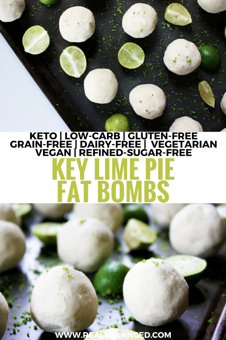 Key Lime Pie Fat Bombs: keto, low-carb, gluten-free, grain-free, dairy-free, vegetarian, vegan, and refined-sugar-free! Less than 5g net carbs!