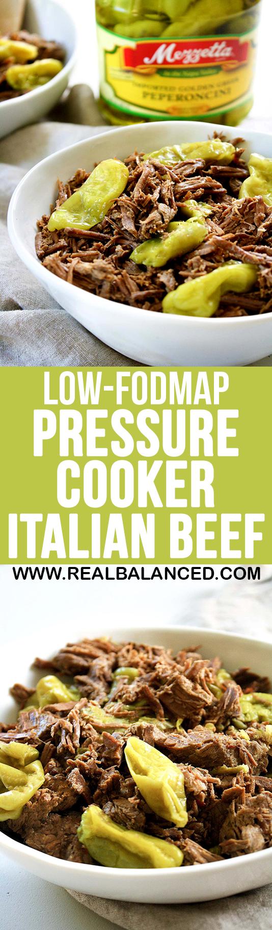 Low-FODMAP Pressure Cooker Italian Beef: low-FODMAP, low-carb, keto, gluten-free, grain-free, dairy-free, & sugar-free!