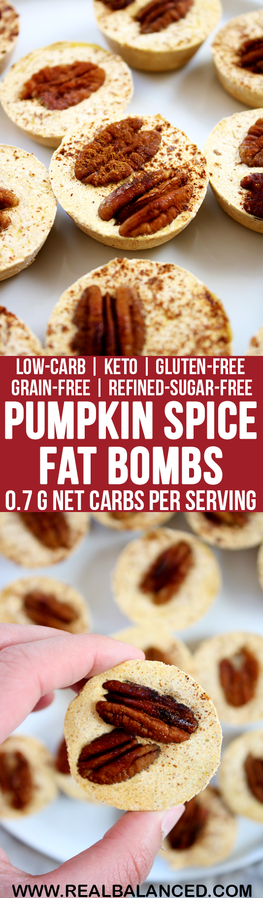 Pumpkin Spice Fat Bombs: low-carb, keto, gluten-free, grain-free, vegetarian, & refined-sugar-free! Less than 1g net carbs per serving!