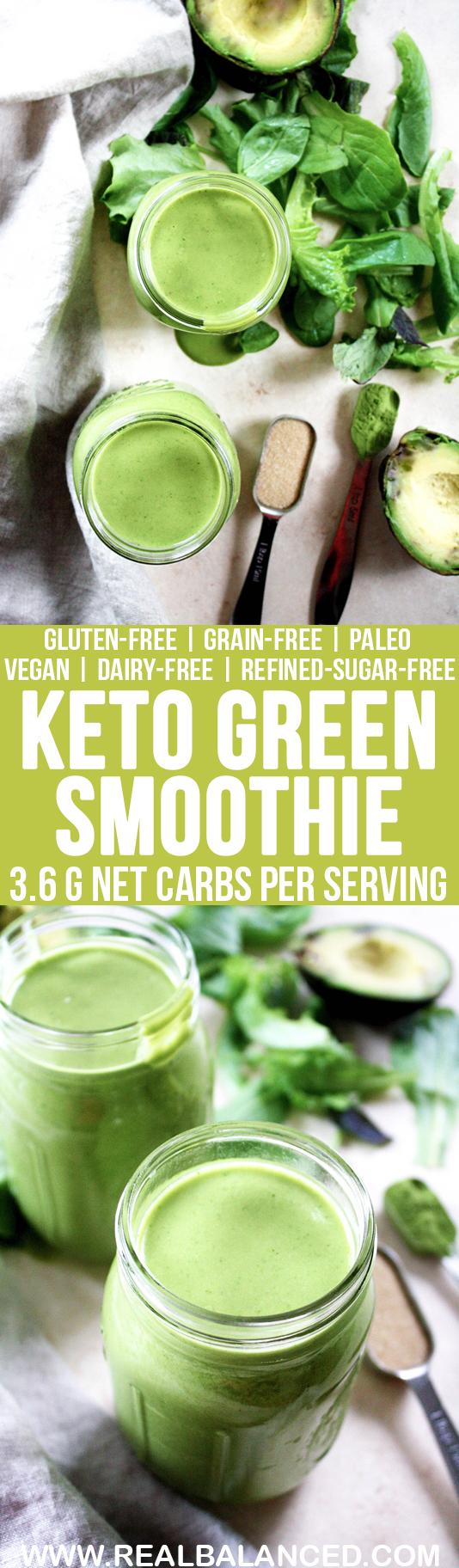 Keto Green Smoothie: keto, low-carb, paleo, low-glycemic, gluten-free, grain-free, dairy-free, vegetarian, vegan, & refined-sugar-free; 3.6g net carbs per serving!