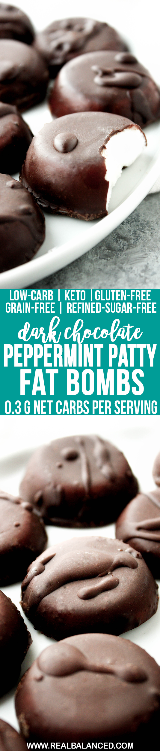 Dark Chocolate Peppermint Patty Fat Bombs: low-carb, keto, gluten-free, grain-free, vegetarian, & refined-sugar-free; only 0.3g net carbs per serving!