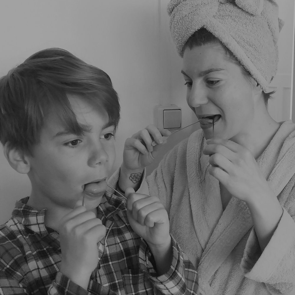 My son Max and me cleaning the tongue in the morning.