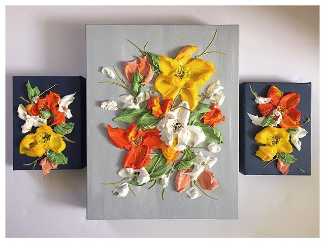 """When the sun comes out, the bright paints follow! 🍋 11""""x14"""" $285 5""""x7"""" $95 each"""