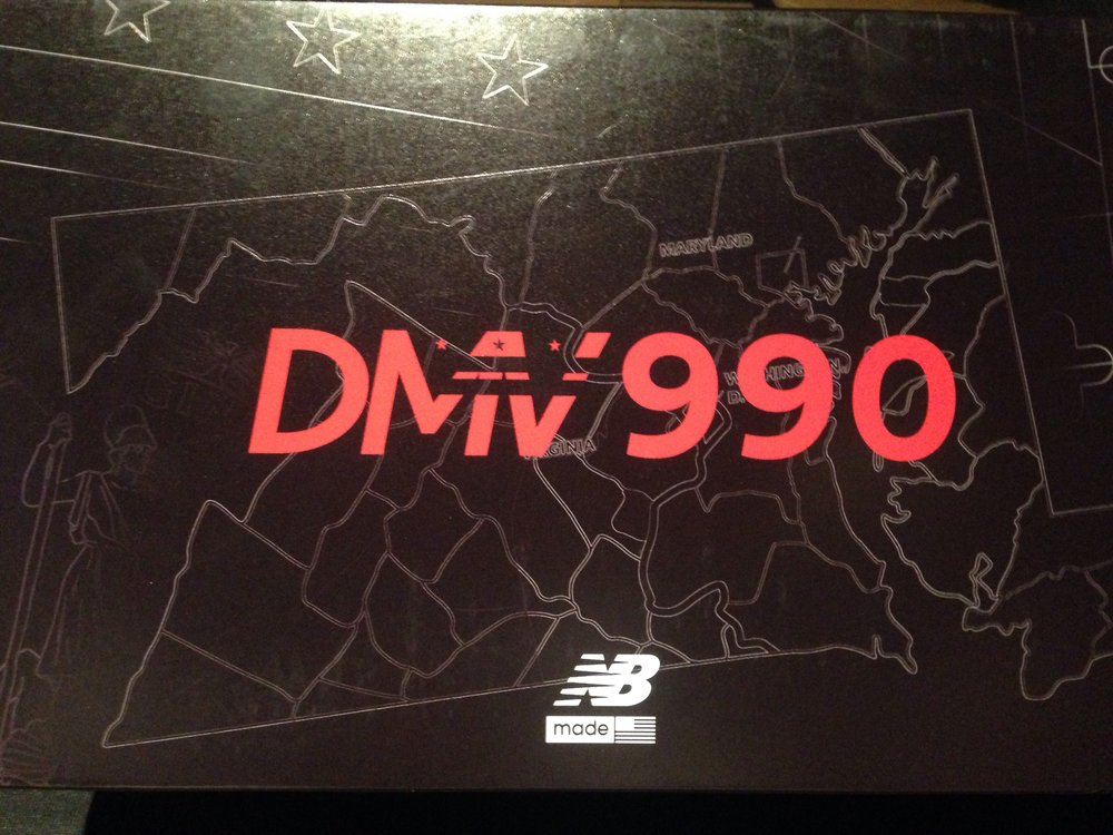 Packaging details for the New Balance DMV 990 features the DC, Maryland and Virginia region as a backdrop.