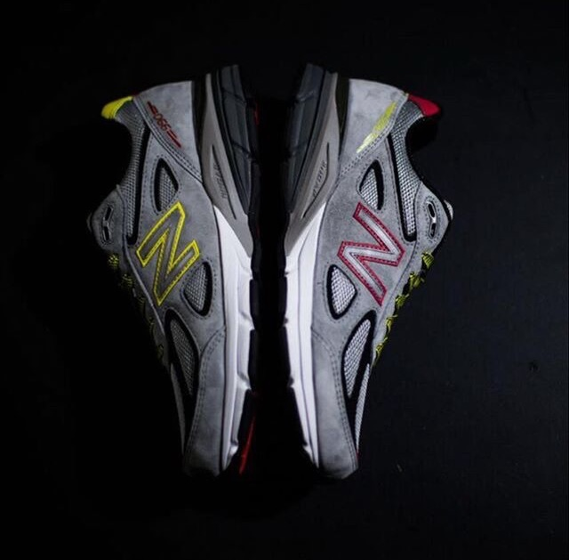 DMV 990s has a grey color way as its base with classic red and yellow details as a nod to the Maryland state flag. Image Via  @junesanders_