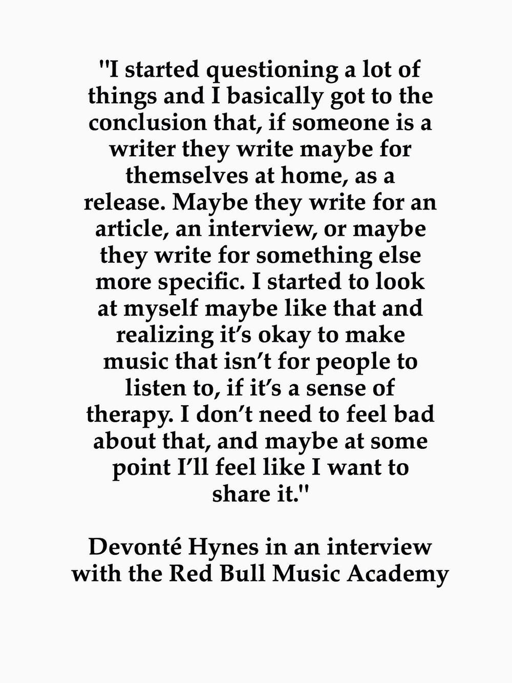Devonté Hynes via the  Red Bull Music Academy