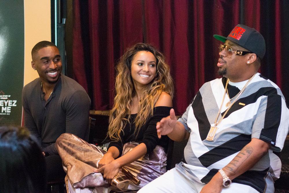 Demetrius Shipp, Jr (Tupac Shakur), Kat Graham (Jada Pinkett) & L.T. Hutton at the All Eyez on Me Roundtable Interview in Washington, DC Photo credit: @aleciarenecephoto