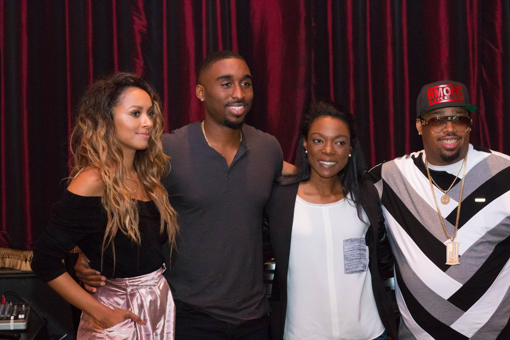 L to R: Kat Graham, Demetrius Shipp Jr., Michelle Schmitz, and L.T. Hutton at the All Eyez on Me Roundtable Interview in Washington, DC. Photo credit: @aleciarenecephoto