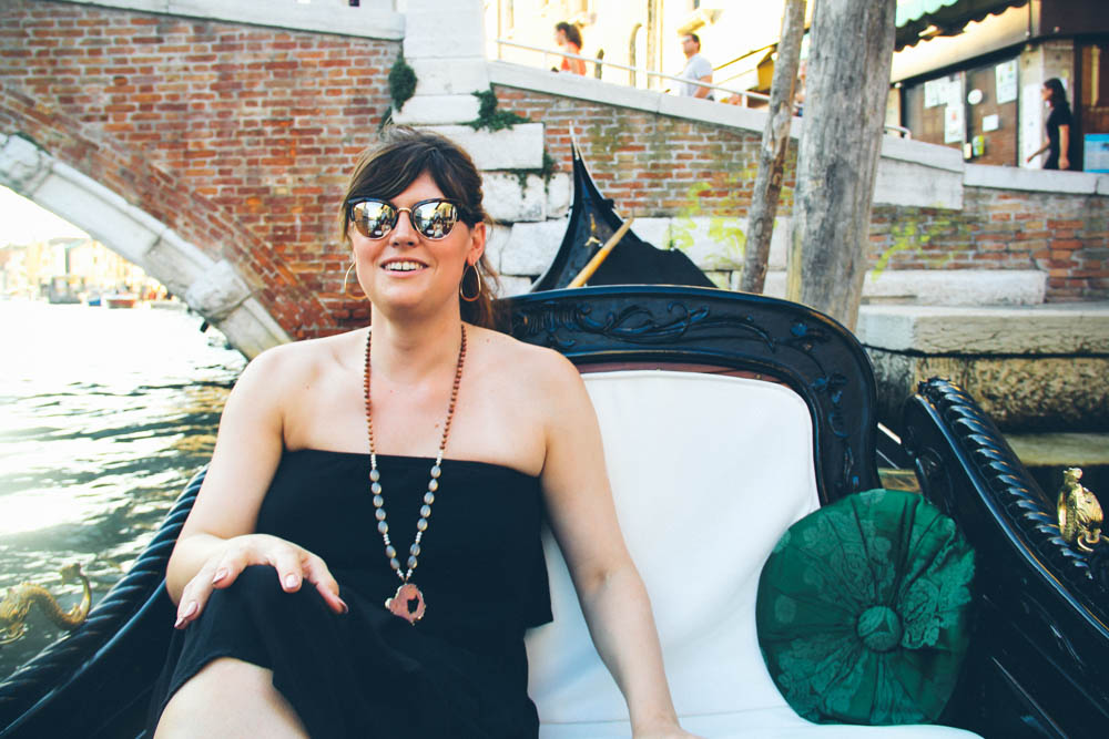 Lauren, in a gondola, Venice, Italy.