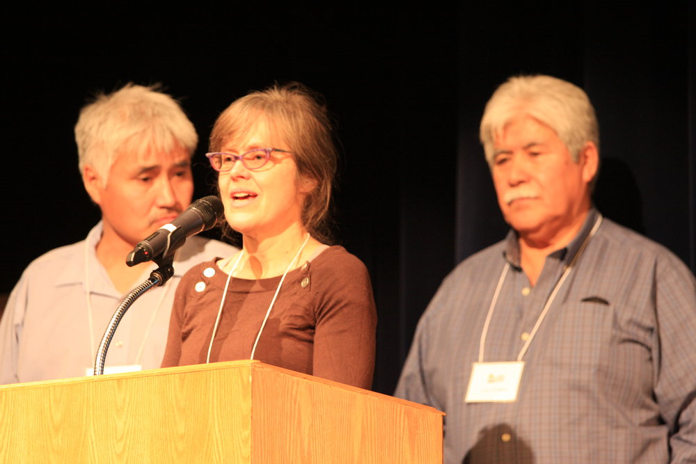Dr. Deborah Simmons, Leon Andrew, and Richard Andrew, Sahtu Region Northwest Territory, speak at the 2016 Mountain Symposium