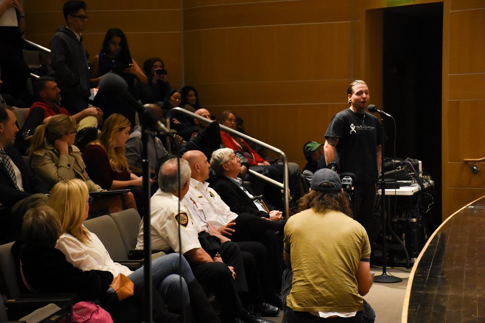 SPEAKING AT A CITY PANEL ON BEHALF OF SALT LAKE CITY'S HOMELESS CITIZENS AS WELL AS SERVICE PROVIDERS...PHOTO CORUTESY OF KUER