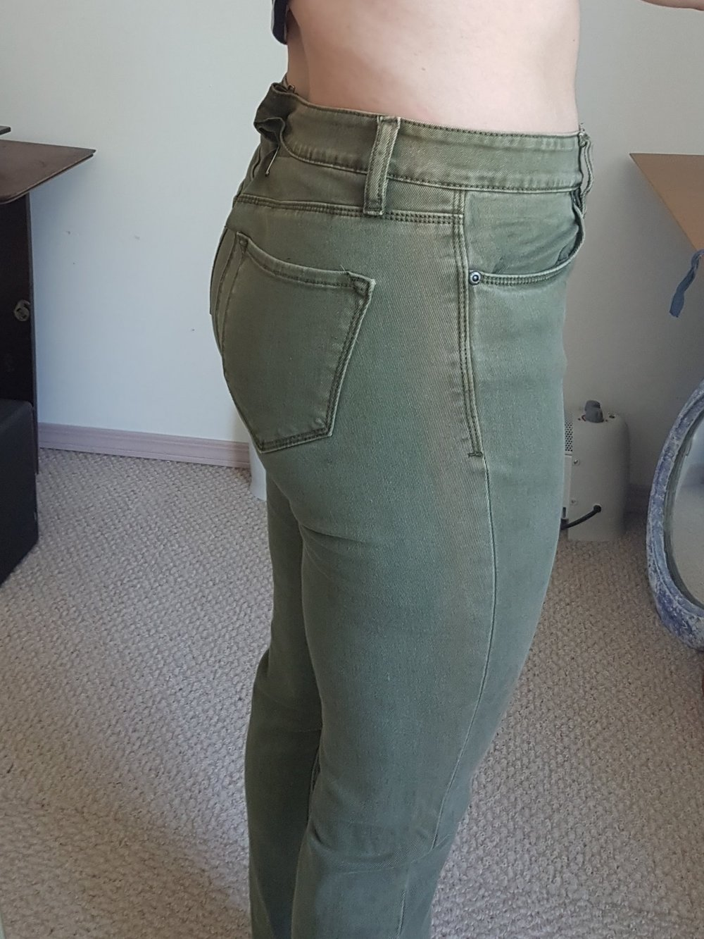 After sewing the new seam I gave the jeans a try-on to make sure they fit.