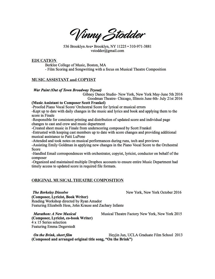 Resume  Welcome To Vinny StodderCom