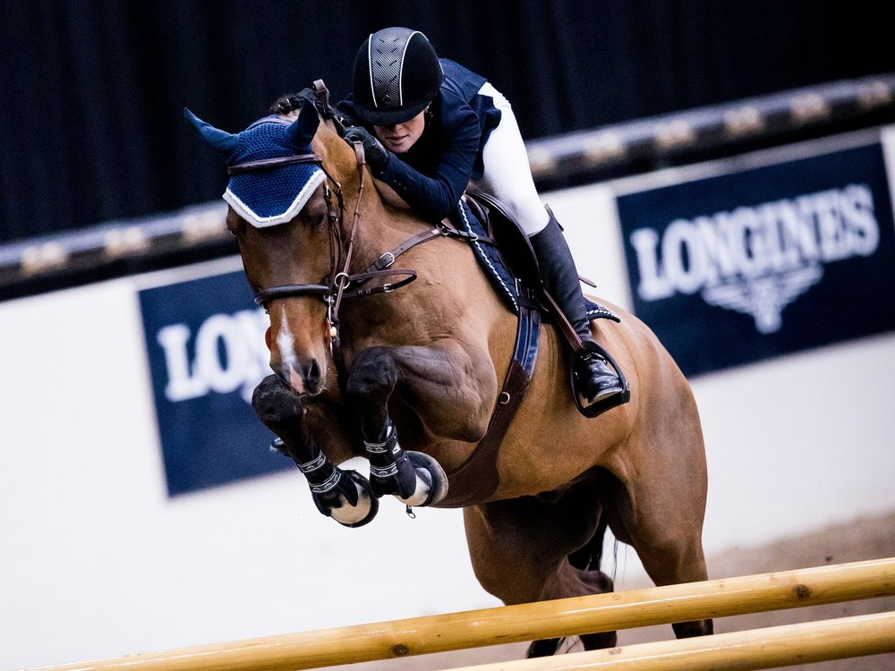 Jennifer Gates and Monaco in the Longines FEI Jumping World Cup™ Las Vegas  Photo: Ashley Neuhof Photography