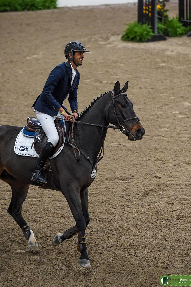 Egypt's Nayel Nassar rode Lucifer V to victory in Saturday's $50,000 1.45-Meter Las Vegas National Winning Round Jumper Classic. Tori Repole Photos