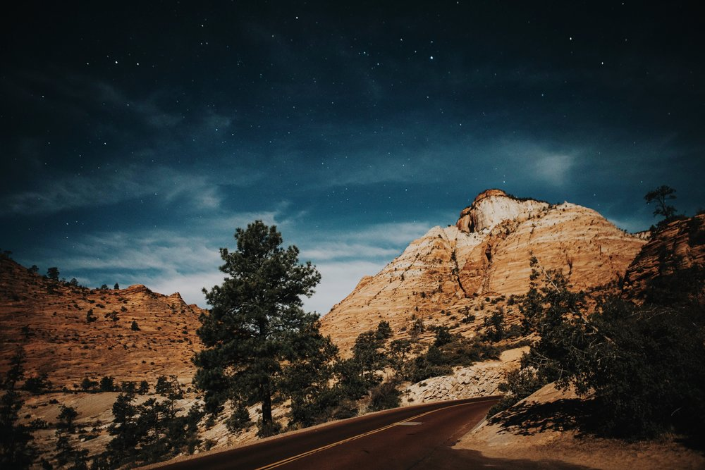 zion national park at night