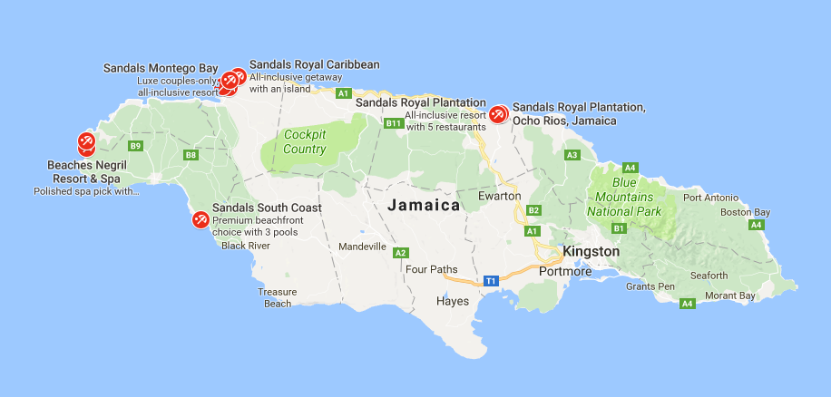 Map of Jamaica showing Sandals South Coast location