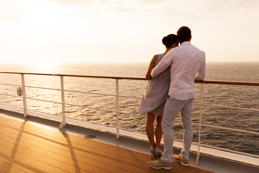 couple on cruise deck