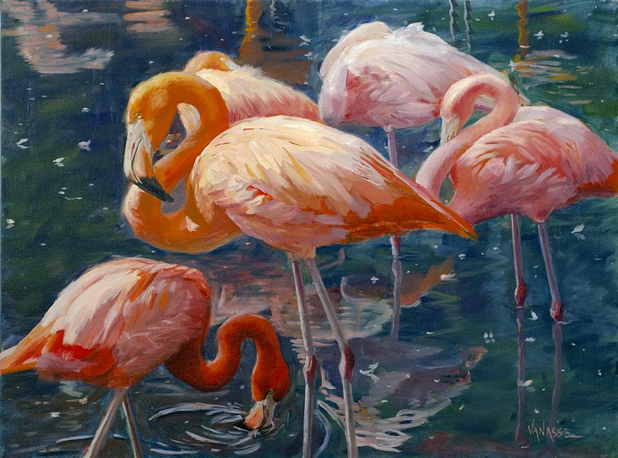 "Tropical Flamingos (18""x 24"") by Eric Vanasse, oil painting"