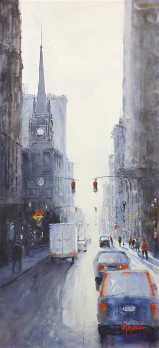 "Cathedral (22"" x 10"") by Judy Mudd, watercolor"