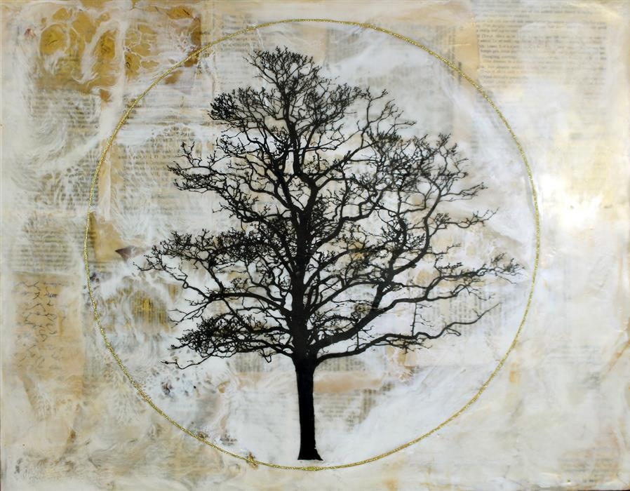 "Tree of Life (16"" x 20"") by Shannon Amidon, encaustic artwork"