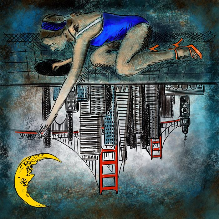 Reaching for the Moon over San Fransisco by Fleur Spolidor, fine art print