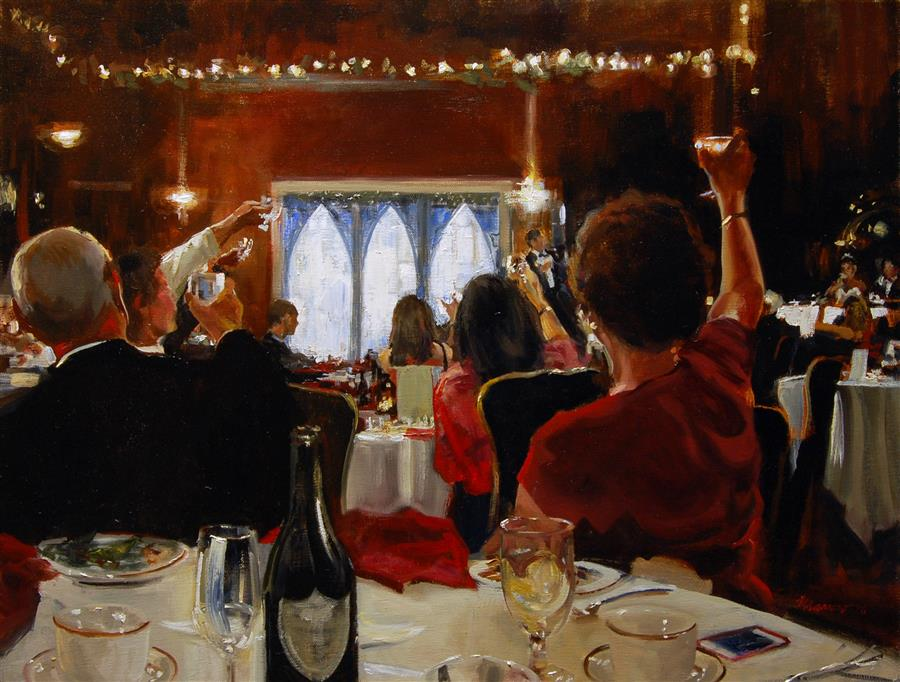 "Wedding Toast  (18""x 24"") by Onelio Marrerro, oil painting"