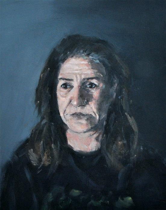 "Weary Mother (15.74"" x 11.81"") by Dimitris Angelopoulos, oil painting"