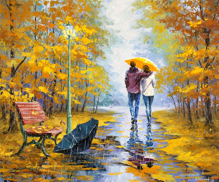 "Forgotten Umbrella (20"" x 24"") by Stanislav Sidorov, oil painting"