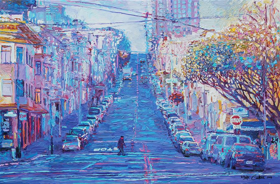"Crossing Union and Powell for Sushi, San Fransisco    (24"" x 36"") by Seth Couture, oil painting"
