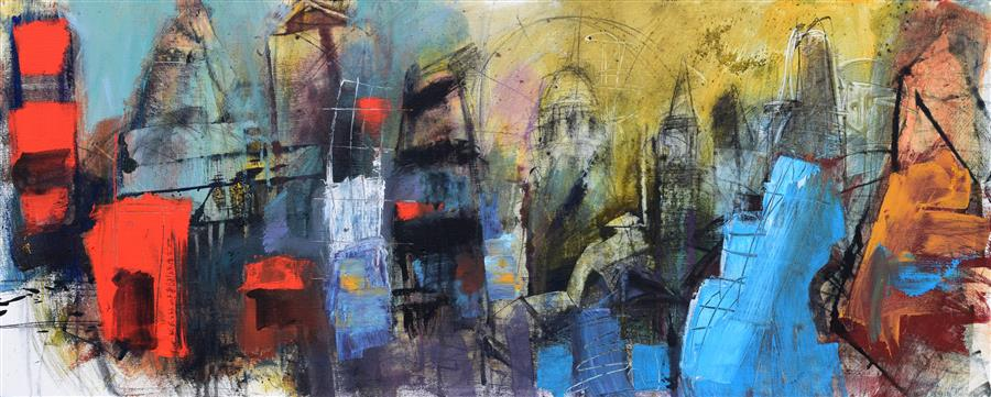 "London Eye (20"" x 50"") by Allen Wittert, acrylic painting"