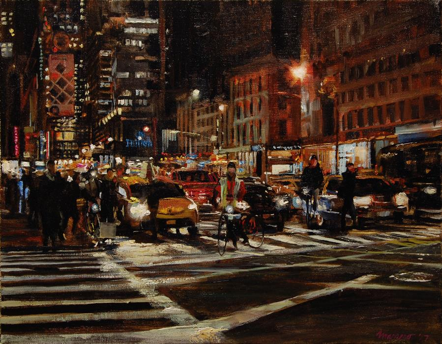 "The Crossing at 59th and 6th (14"" x 18"") by Onelio Marrero, oil painting"
