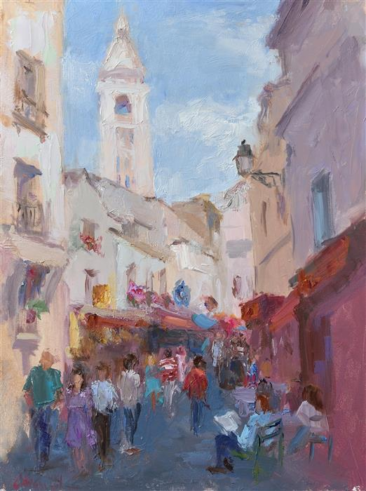 "An Afternoon in Montmartre (12"" x 9"") by Oksana Johnson, oil painting"