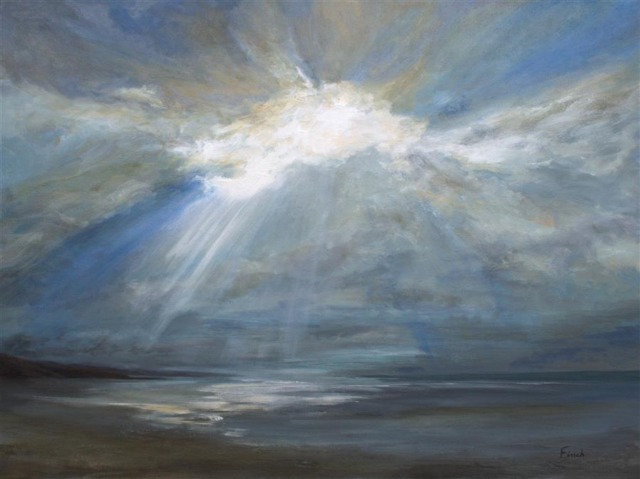 "Angelic Light  (30"" x 40"") by Sheila Finch, acrylic painting from series  Wind, Water and Light"