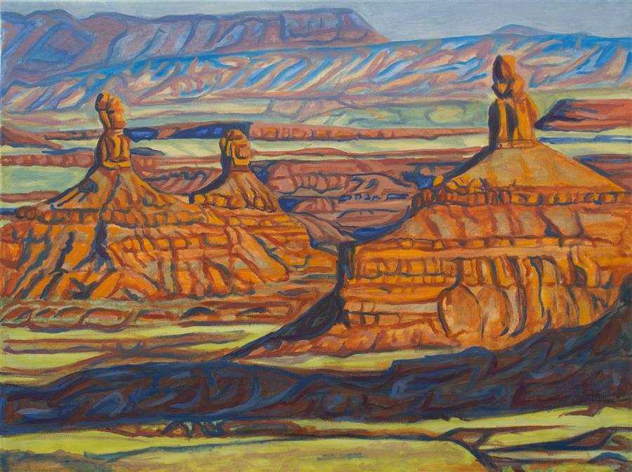 "Evening in the Valley of the Gods  (18"" x 24"") by Crystal DiPietro, an oil painting from the series  The Meaning of Light"