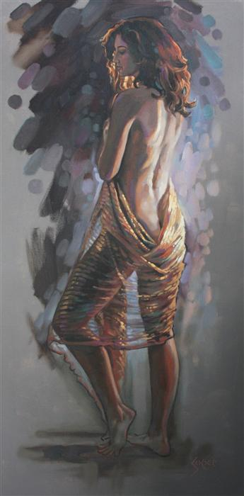 "Wrapped in Gold  (36"" x 18"") by Patrick Soper, oil painting"