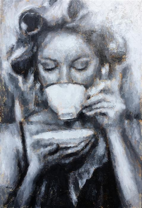 "Coffee and Curlers (60"" x 40"") by Nava Lundy, acrylic painting from the series  The Art of Her Form"