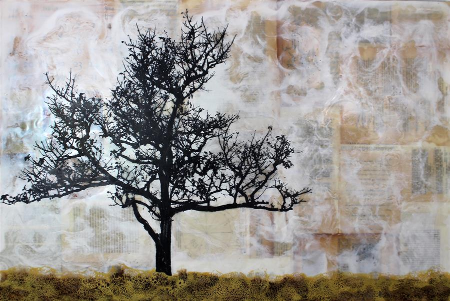 "Tree Poem (24"" x 36"") by Shannon Amidon, encaustic artwork from series Dendrolatry"