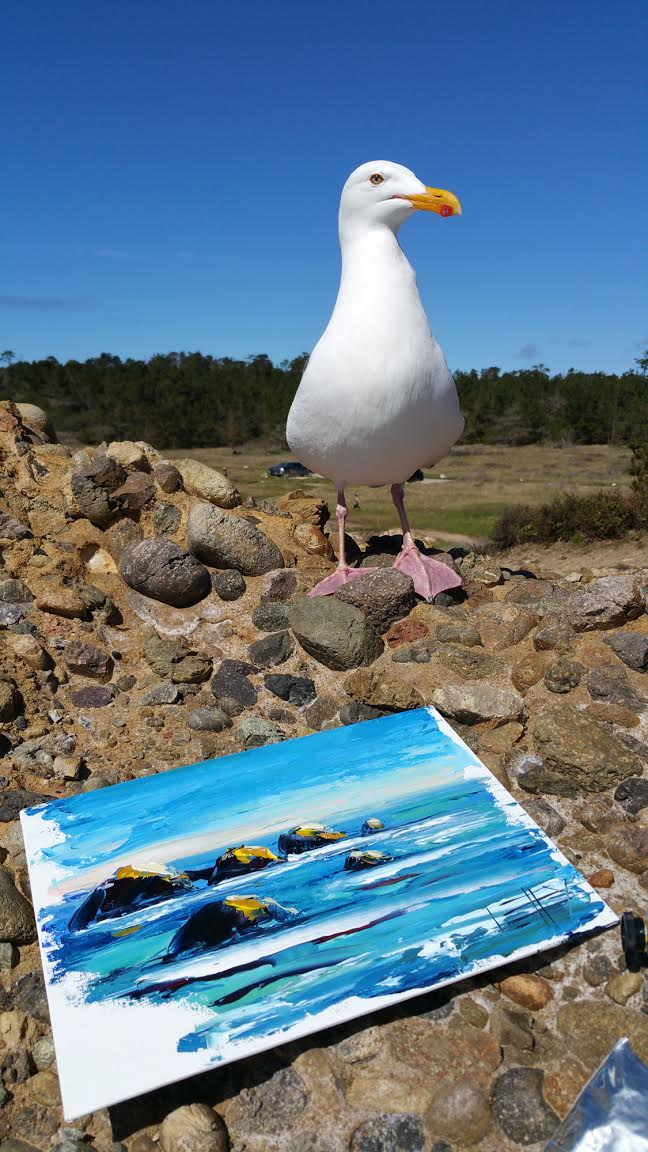 A seagull accompanying Lisa as she worked on   California Melody