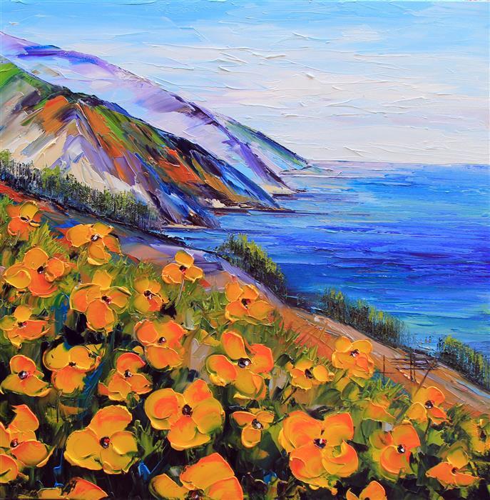 "Big Sur  (36"" x 36"")  by Lisa Elley, oil painting"