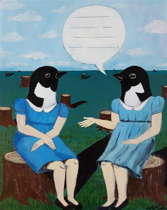 "Topic of Conversation  (20"" x 16"") by Kat Silver, acrylic painting"