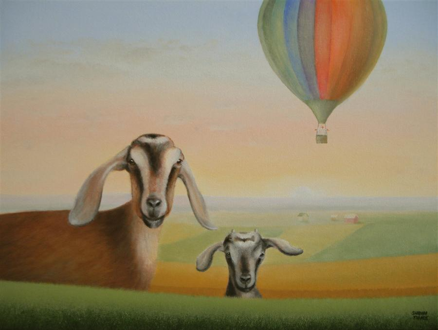 "Away in a Balloon! (12"" x 16"") by Sharon France, oil painting"