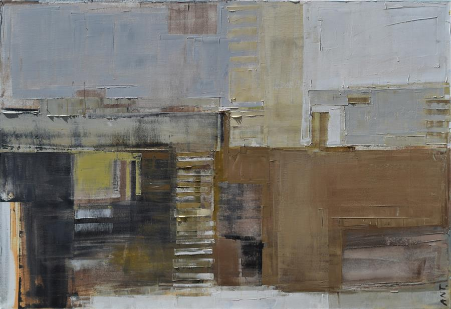"Layer City 46 (27"" x 39"") by Karina Antonczak, oil painting"